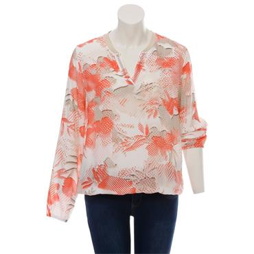 Grandfather Floral Top Peach & Taupe Via Appia